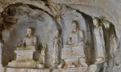 Buddha carvings in cave